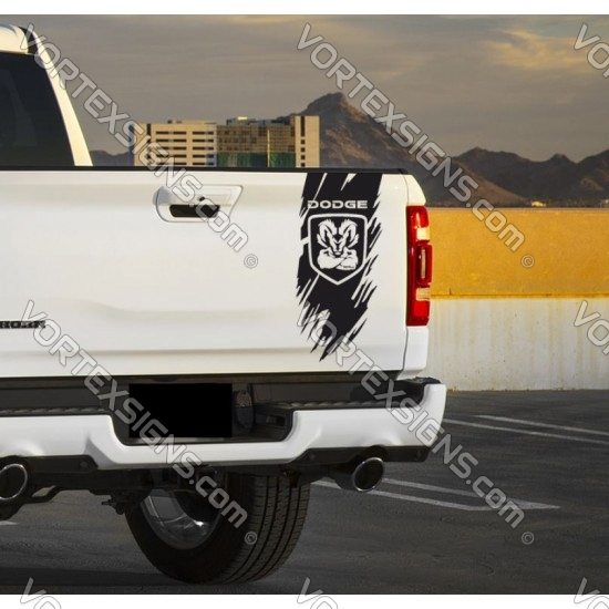 Dodge Ram truck bed rip sticker