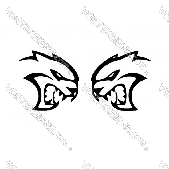 Hellcat head decal sticker for quarterpanel charger challenger
