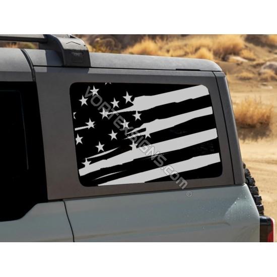 3rd Window American Flag for Ford Bronco 6G - V1 sticker