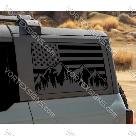 side window Trees Forest American Flag for Ford Bronco 6g sticker