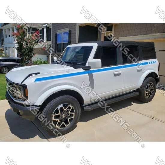 Long body door side stripes decals for 6G Ford Bronco - v3 sticker