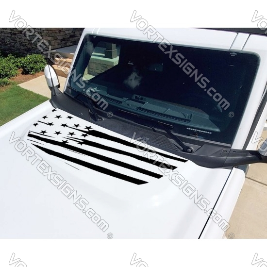 Hood bump American Flag design decal sticker for 6G Ford Bronco sticker