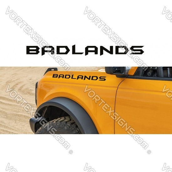 BADLANDS fender letters ford bronco graphics decals stickers