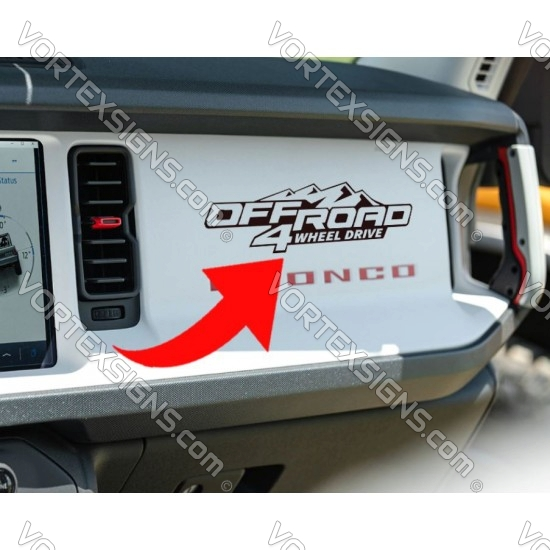 Ford Bronco 4WD dashboard Decal sticker