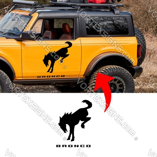 Ford Bronco Logo Door Body Graphics sticker with horse