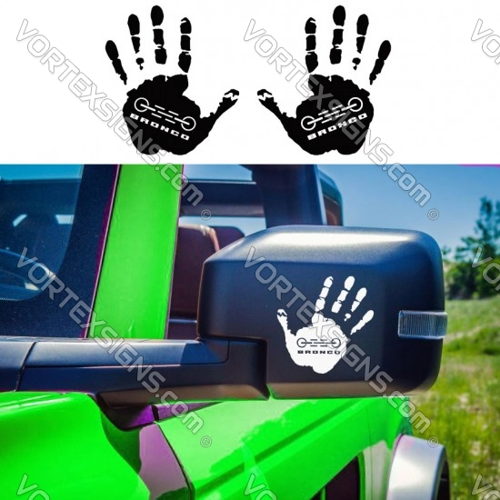 2021 Ford Bronco Wave hand print sticker for your mirror