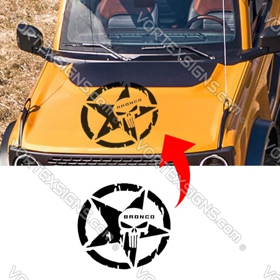 Punisher Star logo Hood Body decal sticker