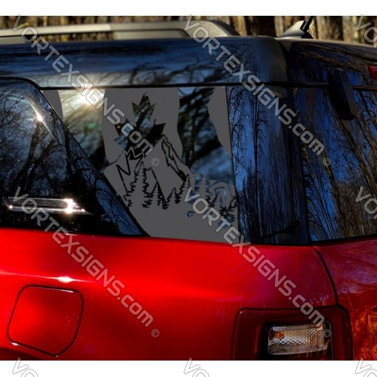 Canadian Flag + mountains for Ford Bronco Sport 3rd Window Decal - v5 sticker