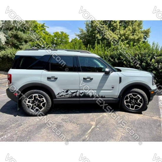 Trees and mountains for Ford Bronco Sport body decal sticker