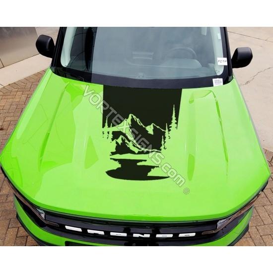 Mountains Hood vinyl Overlay graphics for Ford Bronco Sport - V1 sticker