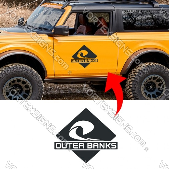 OUTER BANKS logo Door decal sticker for your ford bronco