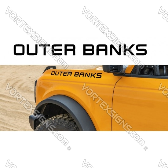 OUTERBANKS fender hood letters (Ford Bronco) sticker