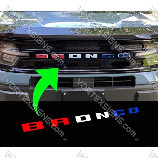 RED WHITE BLUE Vinyl Letters Overlay decal for Bronco Sport grille sticker