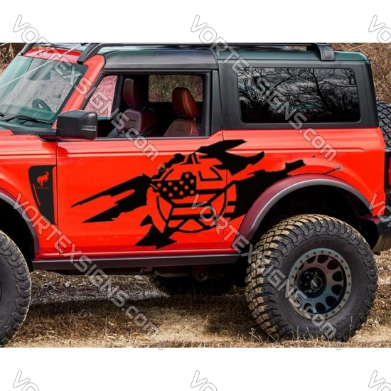 Ford Bronco Door Graphics with ripped sticker