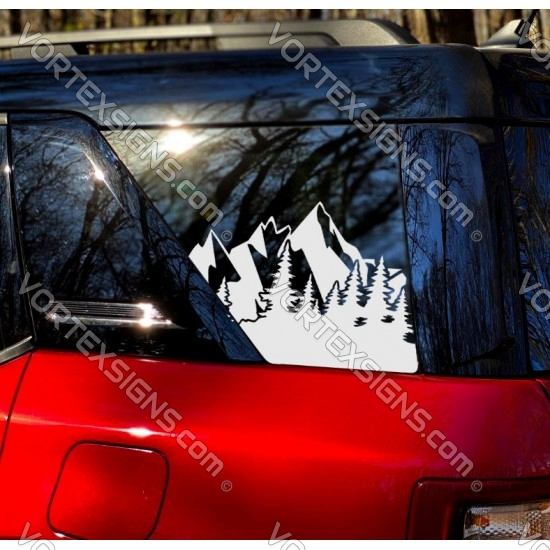 Ford Bronco Sport Forest Mountain 3rd Window Decal - v1 sticker US flag