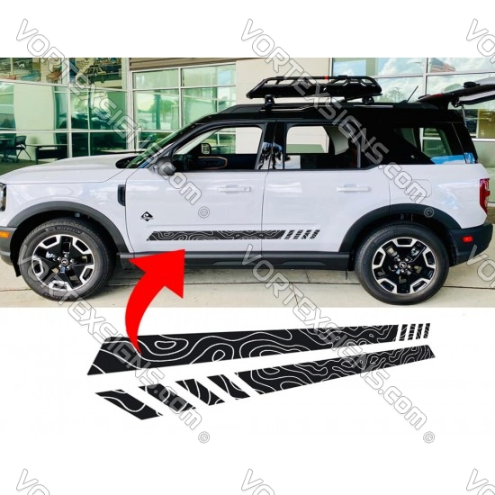 Ford Bronco Sport Door Body bottom stripe topographical map Graphic - 1 sticker