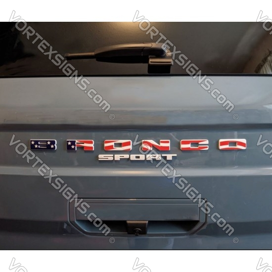 USA colors Vinyl Letters Overlay decal for Ford Bronco grille sport generation sticker
