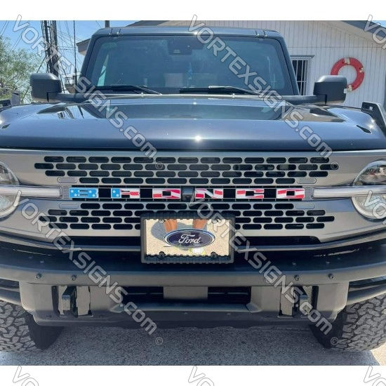 USA colors Vinyl Letters Overlay decal for Ford Bronco grille 6G 6 generation sticker