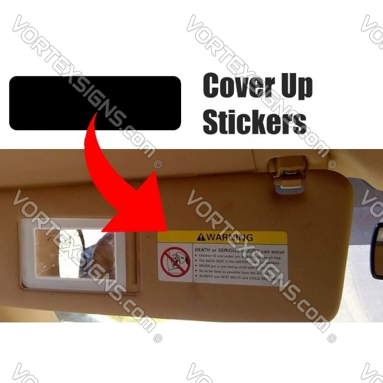 air bag warning porsche Sun visor cover up stickers for Porsche sticker