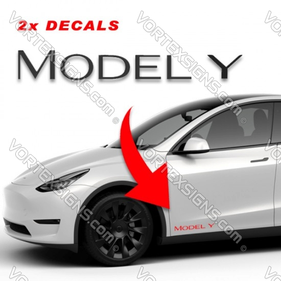Tesla Model Y Decals for exterior of the car
