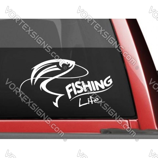 Fishing Life sticker for pickup truck suv car