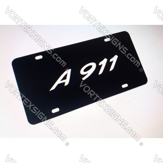 License Plate with Custom Text (porsche style font) sticker