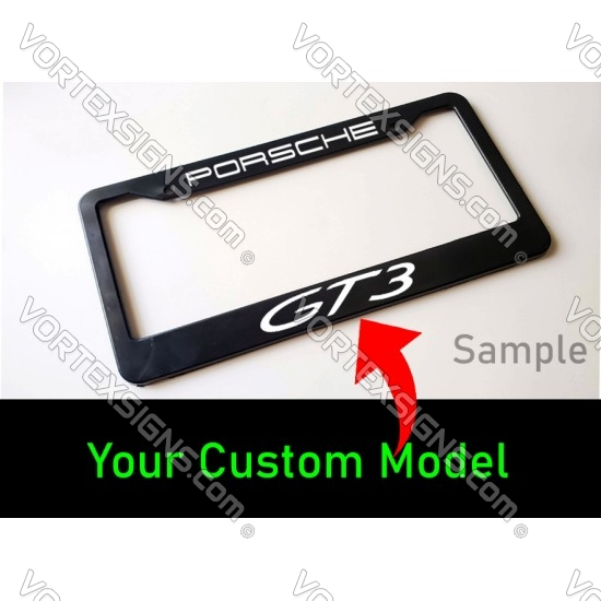 Custom text Porsche GT3 License plate frame