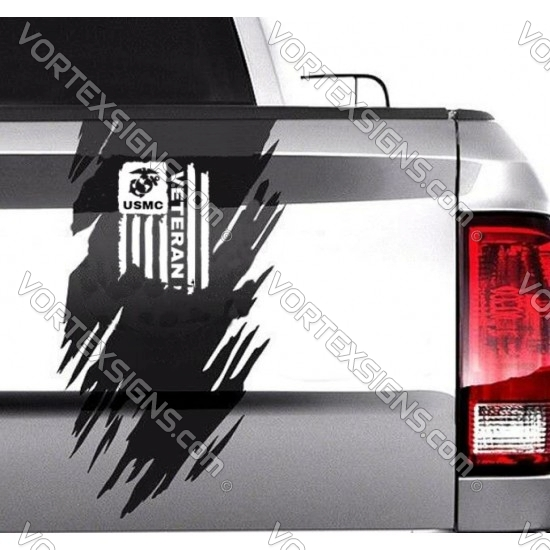 USMC Veteran tail gate ripped accent decoration sticker