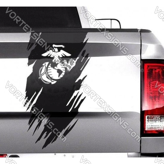 USMC tail gate Ripped graphics sticker