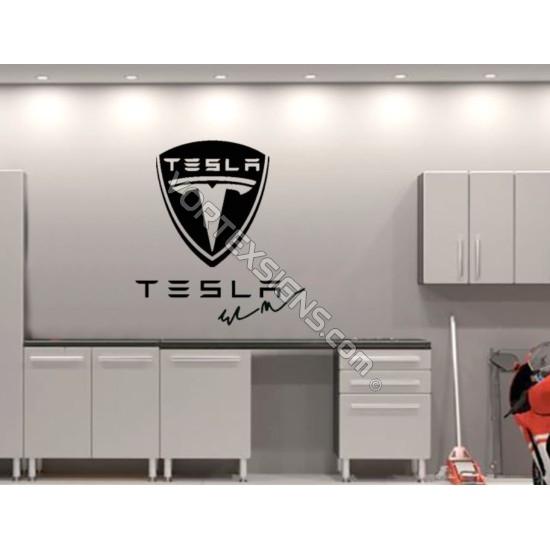 TESLA logo Garage Wall decal sign - v1 sticker