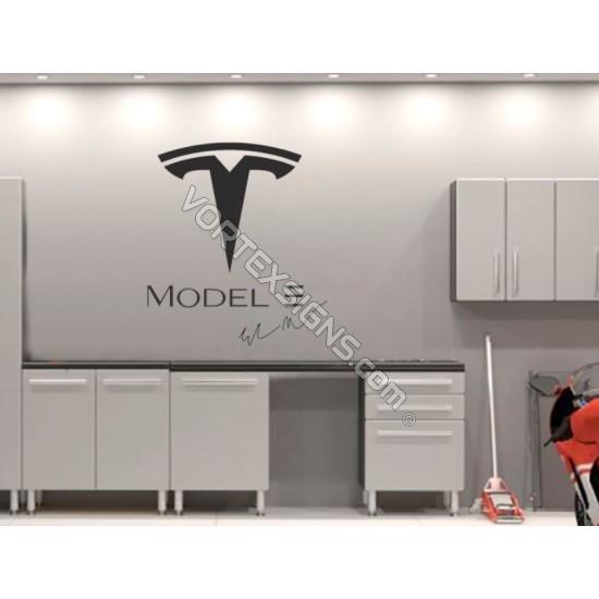 TESLA model 3  logo Garage Wall decal sign sticker